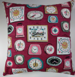 "Cushion Cover in Cath Kidston Clocks Purple/Red 16"" 20"""